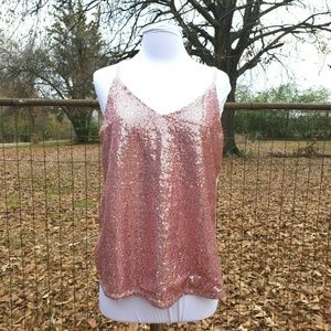 NEW Sleeveless Sequin NYE Tank Blouse Keyhole Back